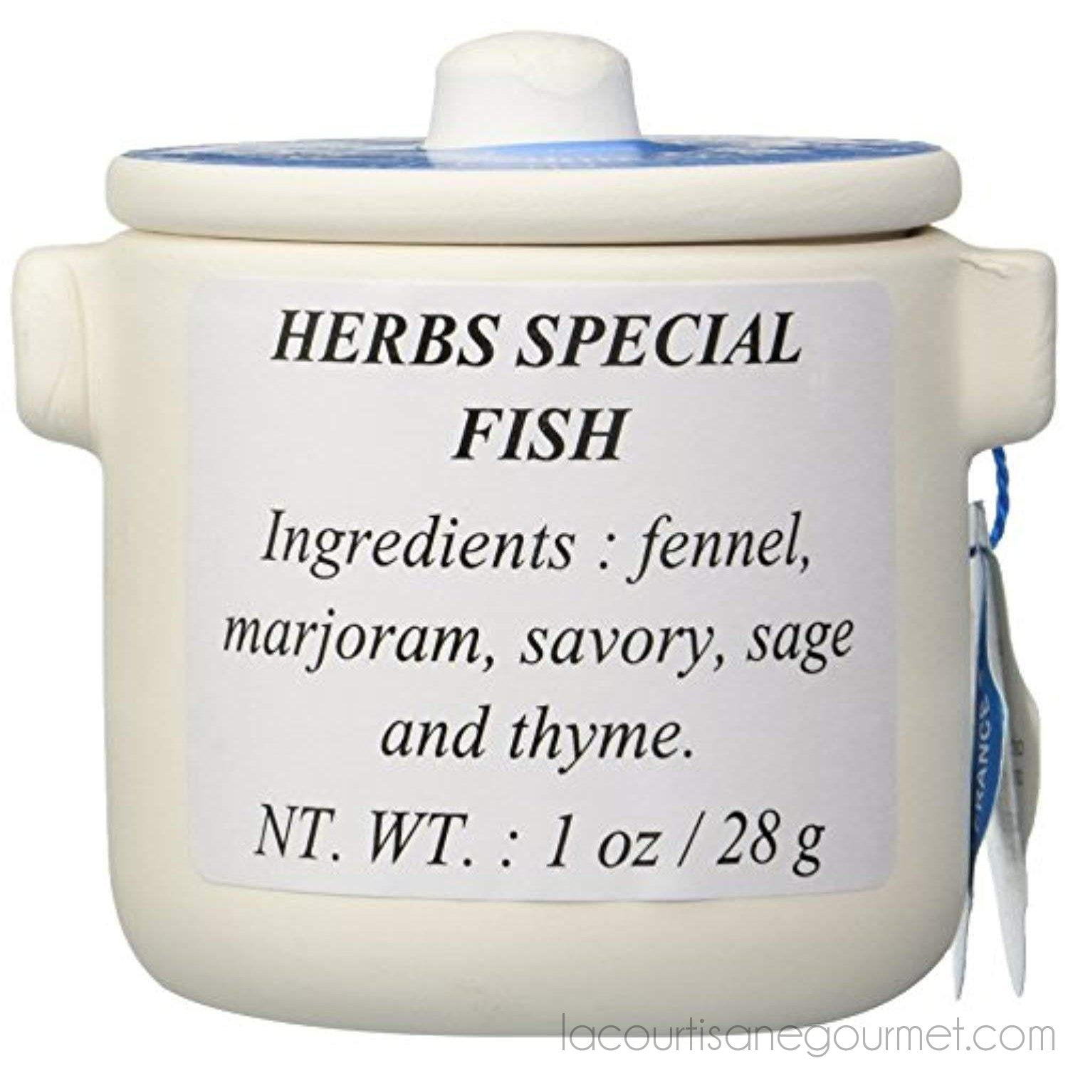 Aux Anysetiers Du Roy - Herbes De Provence Special Fish In Ceramic Jar- 1Oz (28G) - Herb - La Courtisane Gourmet Food