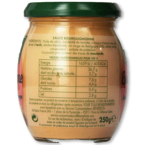 Benedicta Burgundy Sauce 9.5 Oz (270G) - mayonnaise - La Courtisane Gourmet Food
