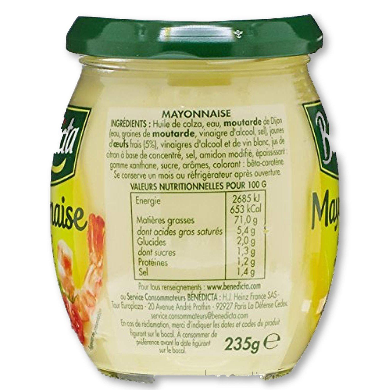 Benedicta - Gourmet Mayonnaise, French Mayonnaise 8.8Oz (235G) - mayonnaise - La Courtisane Gourmet Food