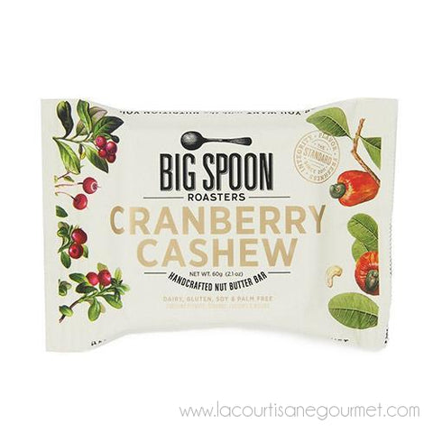 Big Spoon Roasters - Cranberry Cashew Nut Butter Bar 60 grams - Cereal Bar - La Courtisane Gourmet Food