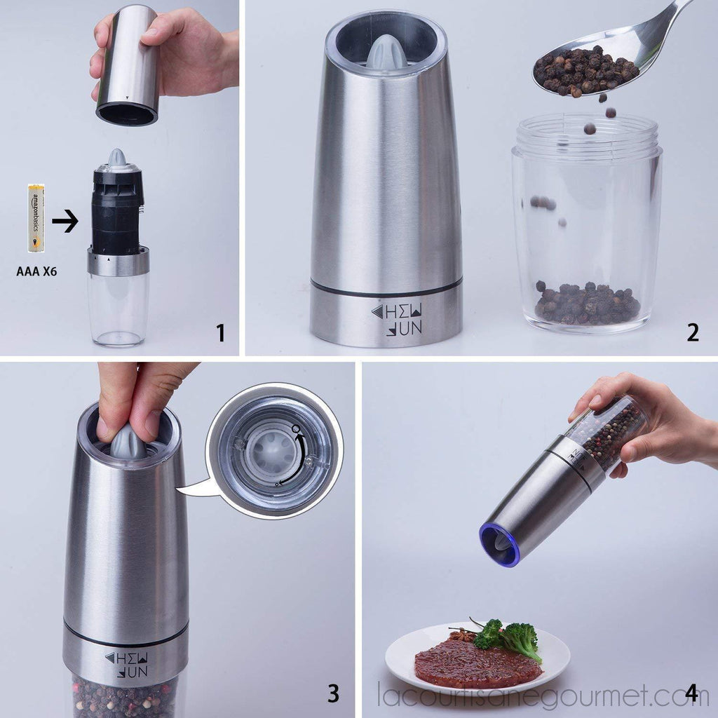 Chew Fun - Gravity Electric Pepper Or Salt Grinder Mill - Stainless Steel - Set Of 2 - grinder - La Courtisane Gourmet Food