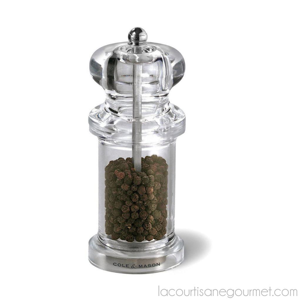 Cole & Mason 505 Salt And Pepper Grinder Set - Clear Acrylic Mills Includes Precision Mechanisms And Premium Sea Salt And Peppercorns - grinder - La Courtisane Gourmet Food