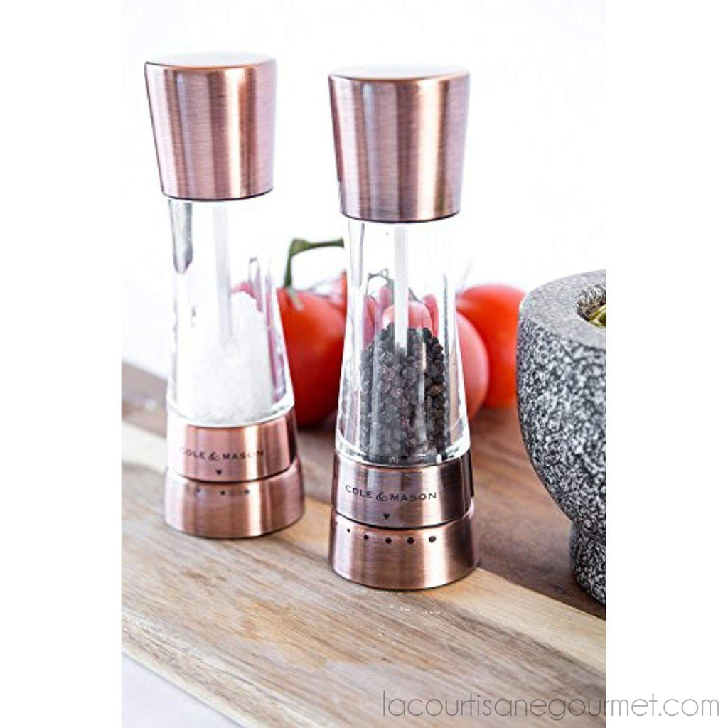 Cole & Mason Derwent Salt And Pepper Grinder Set - Copper Mills Include Gift Box, Gourmet Precision Mechanisms And Premium Sea Salt And Peppercorns - grinder - La Courtisane Gourmet Food