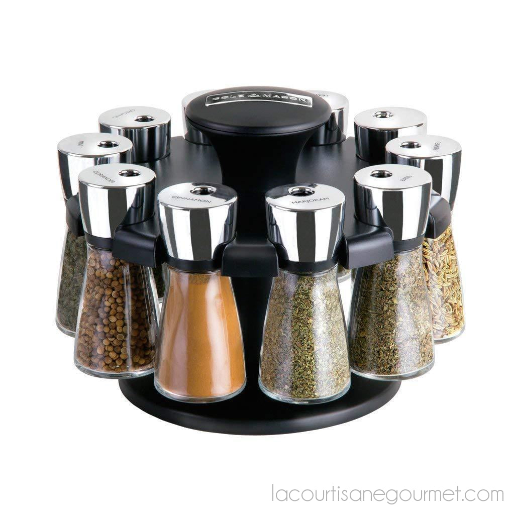 Cole & Mason Herb And Spice Rack With Spices - Revolving Countertop Carousel Set - - La Courtisane Gourmet Food