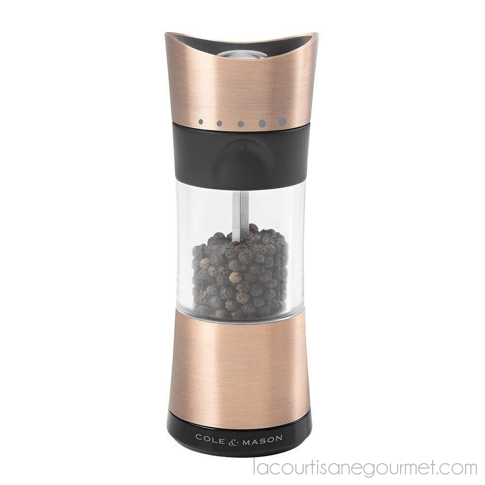 Cole & Mason Horsham Copper Pepper Grinder - Acrylic Upside Down Mill Includes Precision Mechanism And Premium Peppercorns - grinder - La Courtisane Gourmet Food