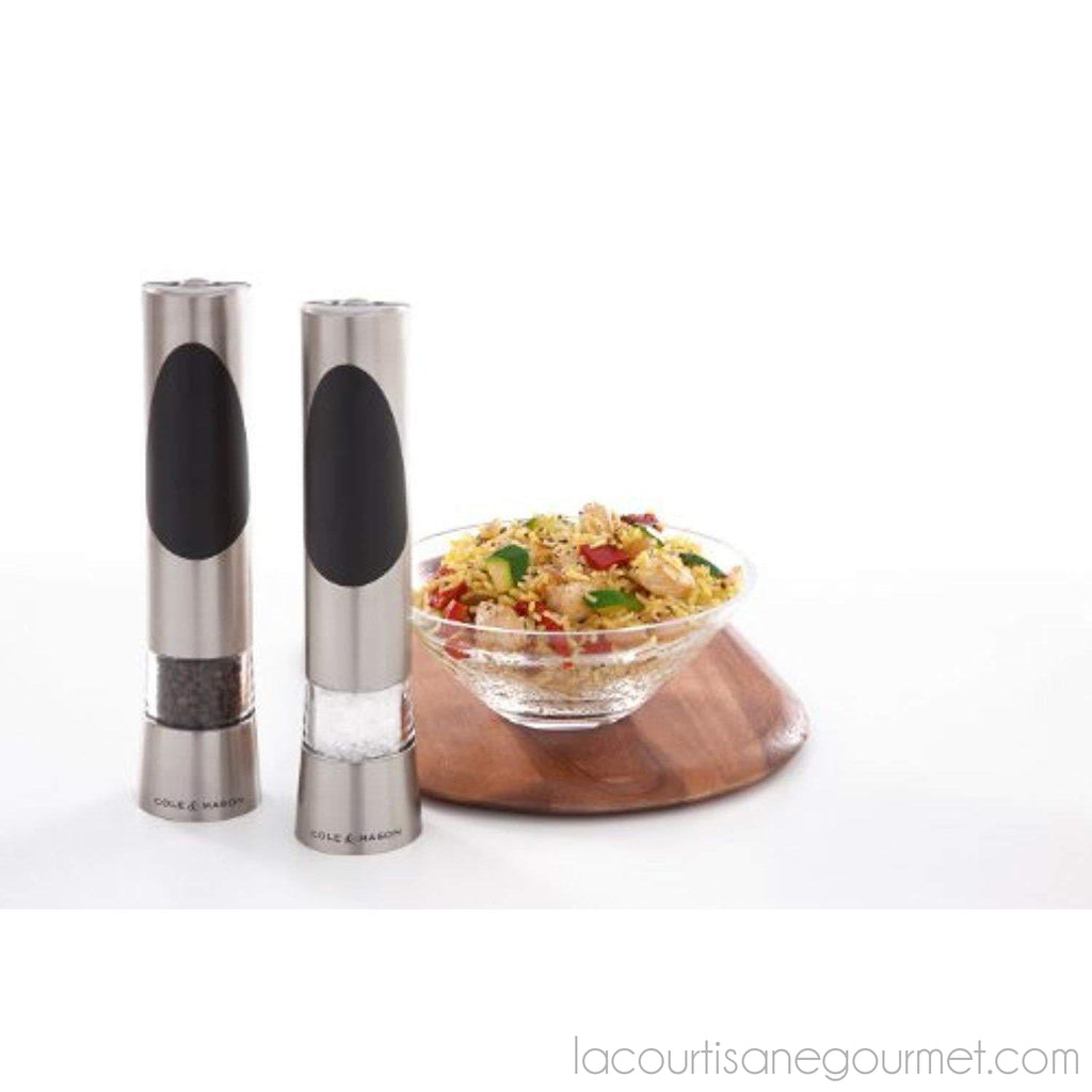 Cole & Mason Richmond Electric Salt And Pepper Grinder Set - Stainless Steel Electronic Mills Include Gift Box And Gourmet Precision Mechanisms - grinder - La Courtisane Gourmet Food