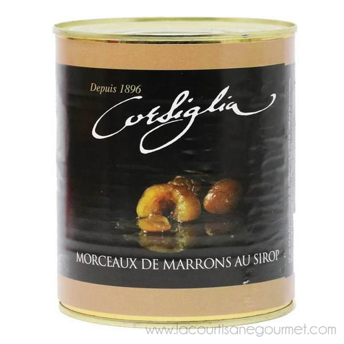 Corsiglia - Broken Candied Chestnuts in Syrup, 650g (1.4lb) Can - Candies - La Courtisane Gourmet Food