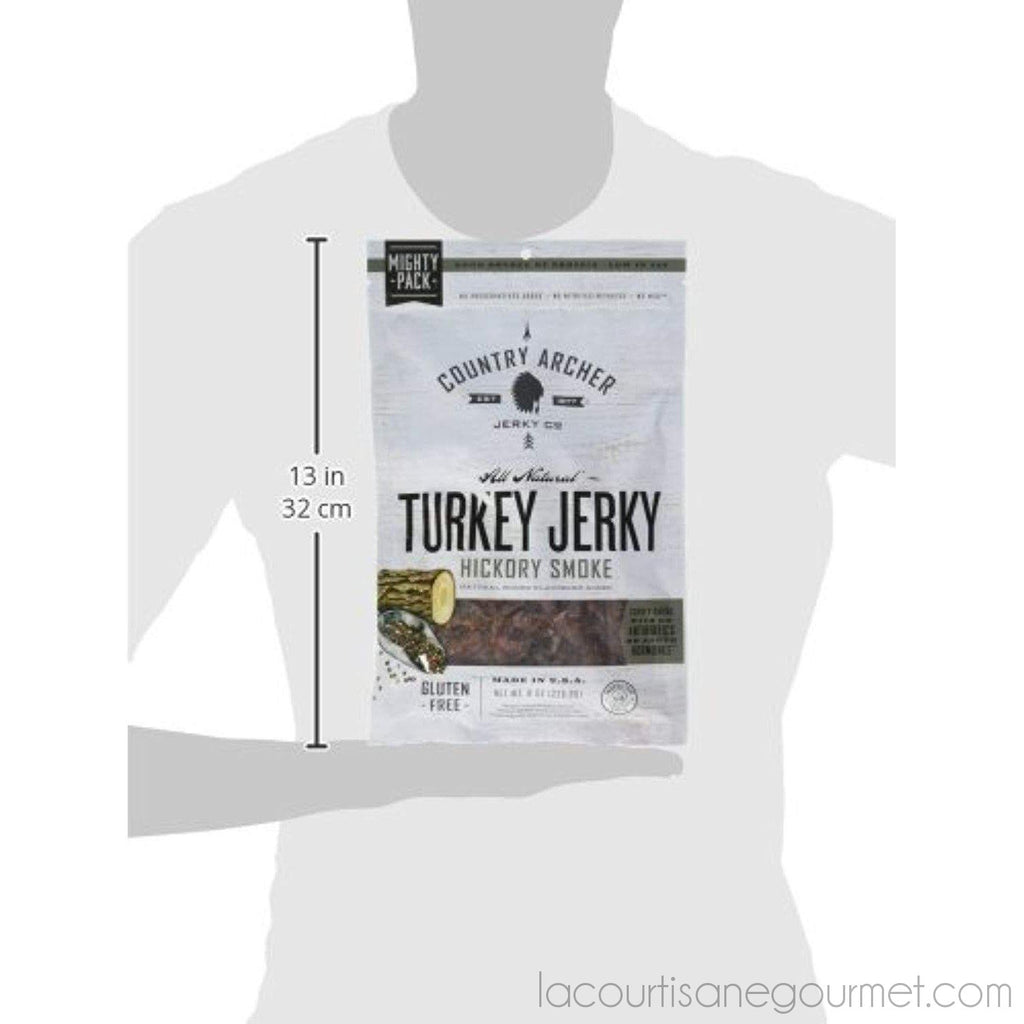 Country Archer Gluten/Antibiotic Free Turkey Jerky, Hickory Smoke, 8 Ounce - Jerky - La Courtisane Gourmet Food