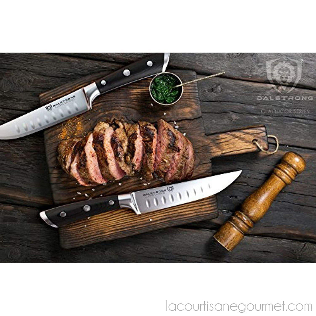 Dalstrong Steak Knives Set - Gladiator Series - Straight Edge - German Hc Steel - W/Sheaths - - La Courtisane Gourmet Food