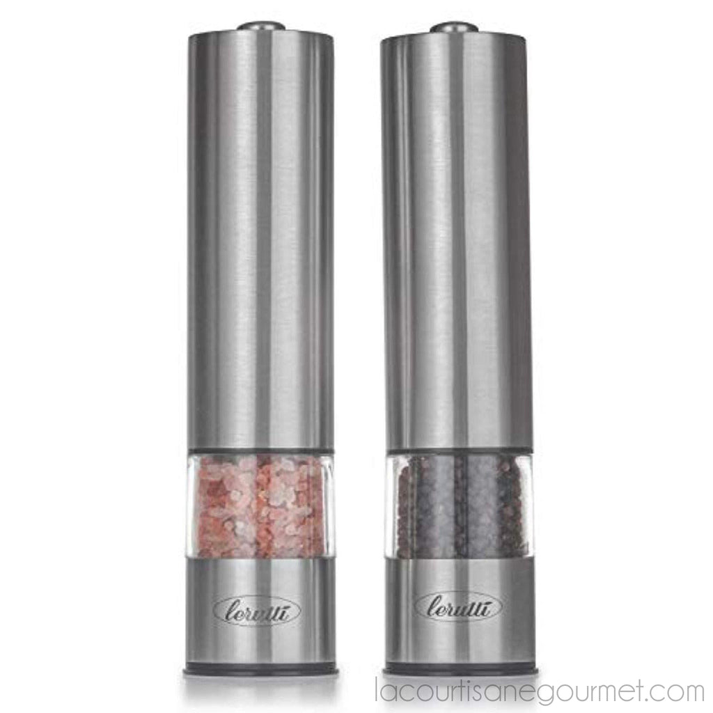 Electric Lerutti Salt And Pepper Grinder Set | Battery Operated Stainless Steel Grinders (Pack Of 2) | Automatic Mills With Led Light And Caps At Bottom | Electronic Adjustable Shakers - - La Courtisane Gourmet Food