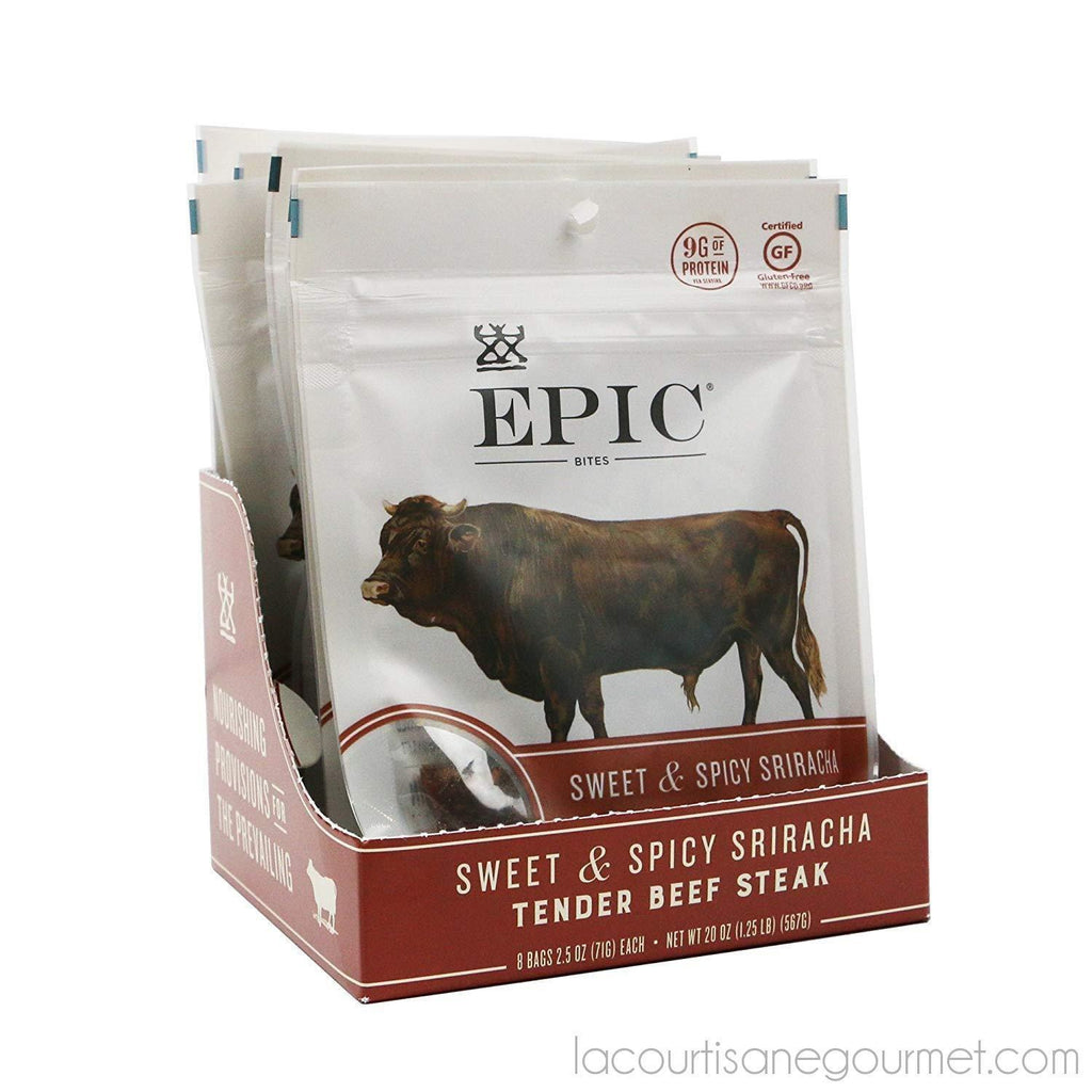 Epic Jerky Bites, 100% Grass Fed, Venison, Sea Salt & Pepper, 2.5 Ounce, 8 Count - Jerky - La Courtisane Gourmet Food