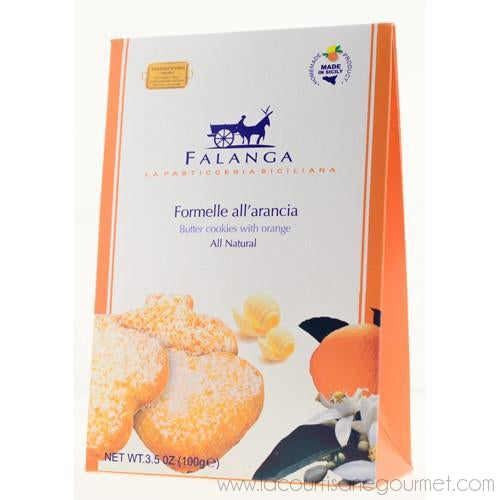Falanga - Butter Cookies (Formelle) with Sicilian Orange 3.5 oz - Cookies - La Courtisane Gourmet Food