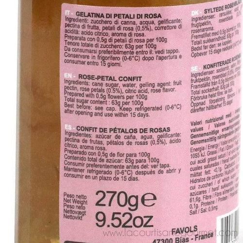 Favols - Confit of Rose Petals French Jam, 270g Jar - Jam - La Courtisane Gourmet Food