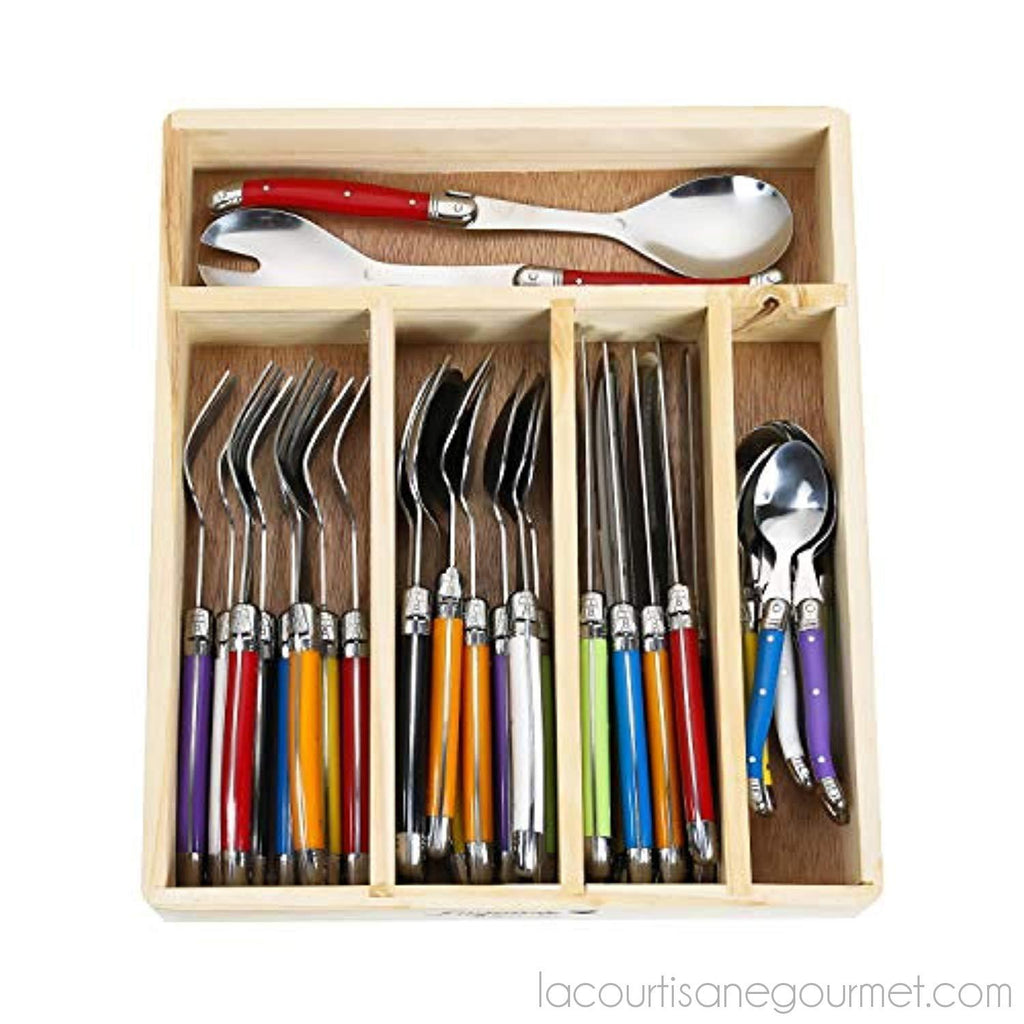 Flying Colors Laguiole Stainless Steel Flatware Set. Multicolor Handles, Wooden Storage Box, 34 Pieces - - La Courtisane Gourmet Food