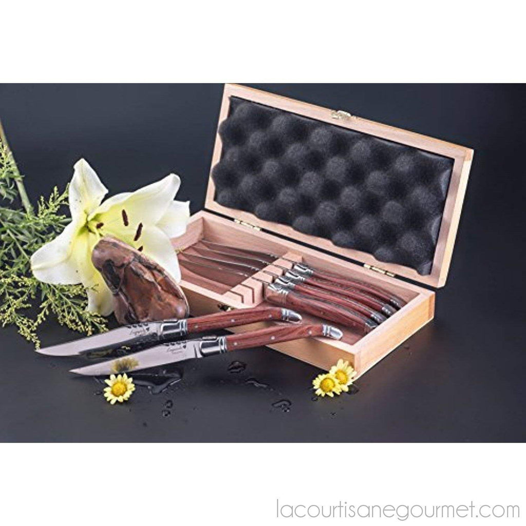 Flyingcolors Laguiole Steak Knife. Stainless Steel, Rose Wood Handle, Wooden Gift Box, 6 Piece - - La Courtisane Gourmet Food