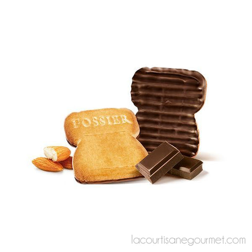 Fossier - Champagne & Almond W/ Dark Chocolate Cork Shortbread Biscuits 3X3 Biscuits - 4,5Oz (130G) - cookies - La Courtisane Gourmet Food