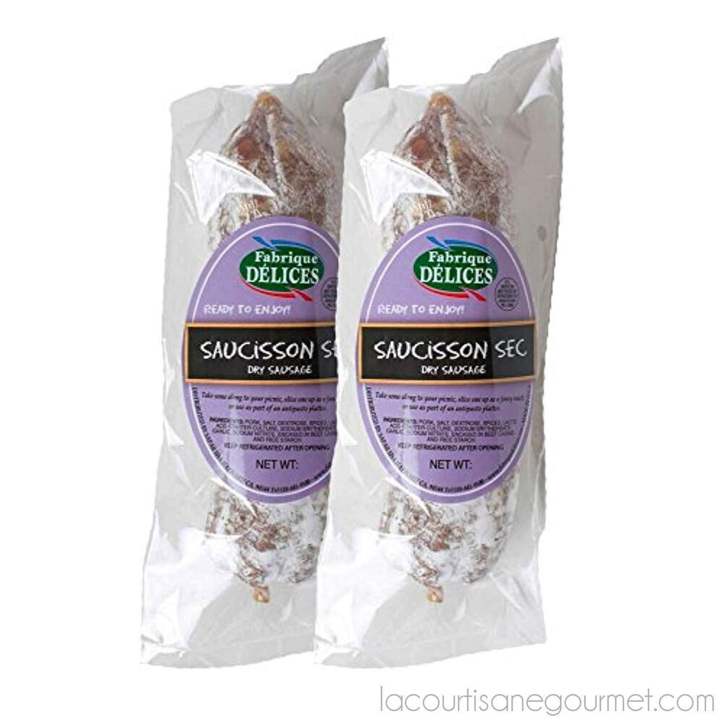 French Dry Salami - Saucisson Sec - 11Oz - (Pack Of 2) - Sausage - La Courtisane Gourmet Food