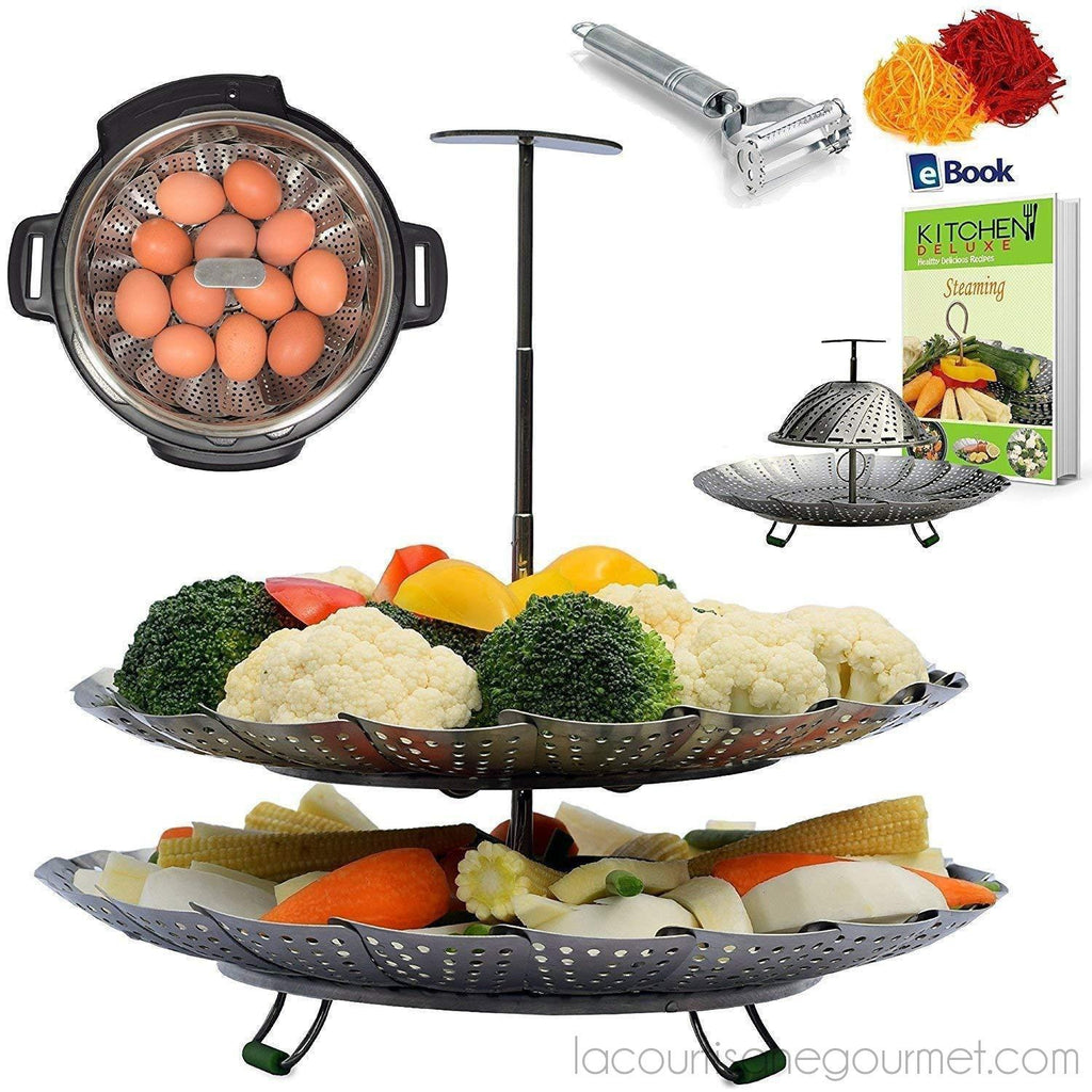 Kitchen Deluxe - Unique 2-Tier Vegetable Steamer Basket - Expendable Handle - - Steamer - La Courtisane Gourmet Food