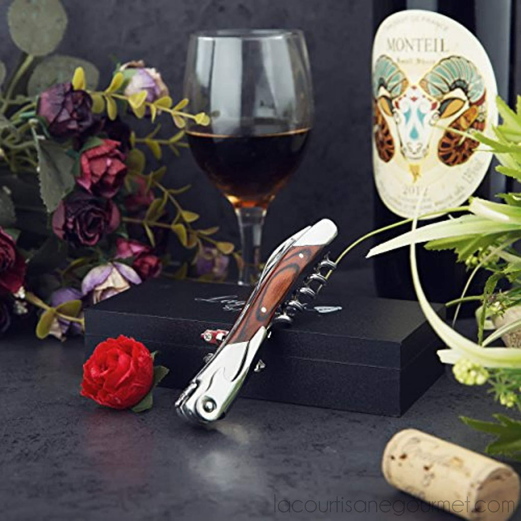 Laguiole By Flyingcolors Sommelier Professional Waiter'S Corkscrew, Wooden Gift Box. Sommelier Knife, Corkscrew, Foil Cutter, And Bottle Opener (Wood) - - La Courtisane Gourmet Food