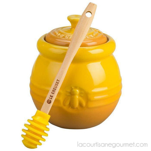 Le Creuset - Dijon Honey Pot With Silicone Dipper - Stoneware - Kitchen Ustensil - La Courtisane Gourmet Food