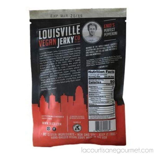Louisville Vegan Jerky - Perfect Pepperoni, Vegetarian & Vegan Friendly Jerky, 21 Grams Of Non-Gmo Soy Protein, Gluten-Free Ingredients 3 Oz (85.05G) - Jerky - La Courtisane Gourmet Food
