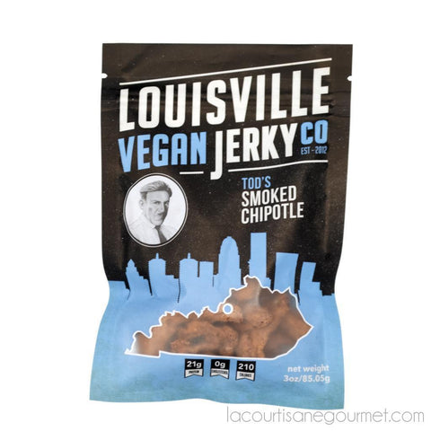 Louisville Vegan Jerky - Smoked Chipotle, Vegetarian & Vegan Friendly Jerky, 21 Grams Of Non-Gmo Soy Protein, Gluten-Free Ingredients 3 Oz (85.05G) - Jerky - La Courtisane Gourmet Food