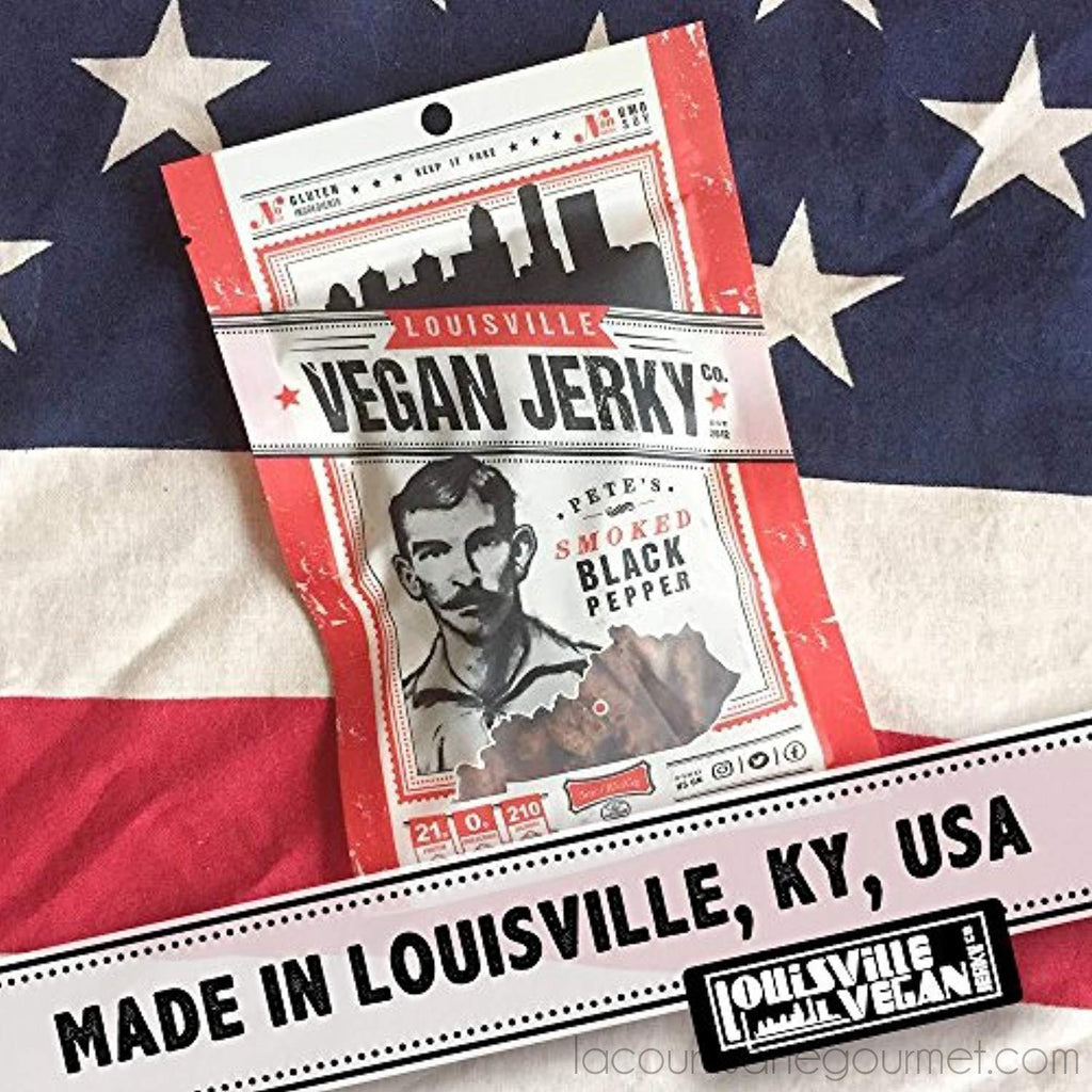 Louisville Vegan Jerky - Smokey Carolina Bbq, Vegetarian & Vegan Friendly Jerky, 12 Grams Of Non-Gmo Soy Protein, Gluten-Free Ingredients 3 Oz (85.95G) - Jerky - La Courtisane Gourmet Food