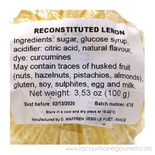 Maffren - French Lemon Slices Hard Candies, 100g (3.53oz) Bag - Candies - La Courtisane Gourmet Food