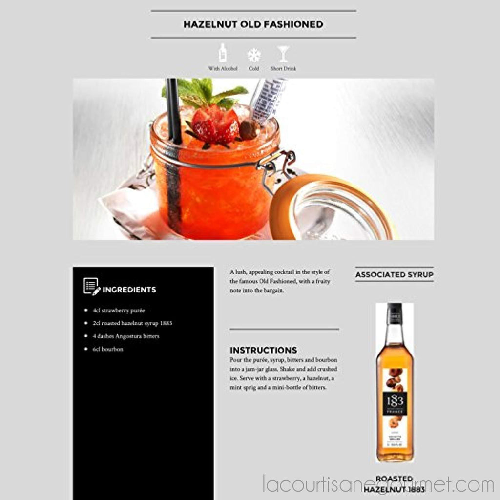 Maison Routin 1883 Premium Syrup Flavorings - Roasted Hazelnut - Purly Made In France - Pet Bottle - 1 Liter - Syrup - La Courtisane Gourmet Food