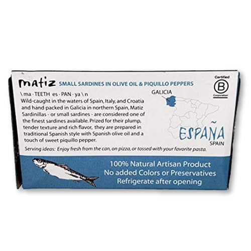 Matiz Sardinillas With Piquillo Peppers - Baby Sardines 3 Oz - Sardines - La Courtisane Gourmet Food