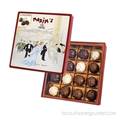 Maxim'S De Paris 16 Gourmet Chocolate Rochers With Hazelnuts, Gift Tin 4.9Oz (138G) - Chocolate - La Courtisane Gourmet Food