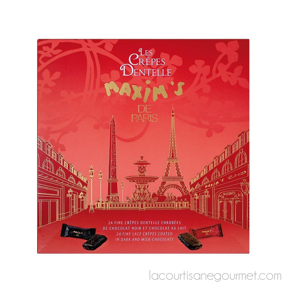 Maxim'S De Paris - 24 Fine Lace Crepes Coated In Dark And Milk Chocolate 4.23Oz (120G) - Chocolate - La Courtisane Gourmet Food