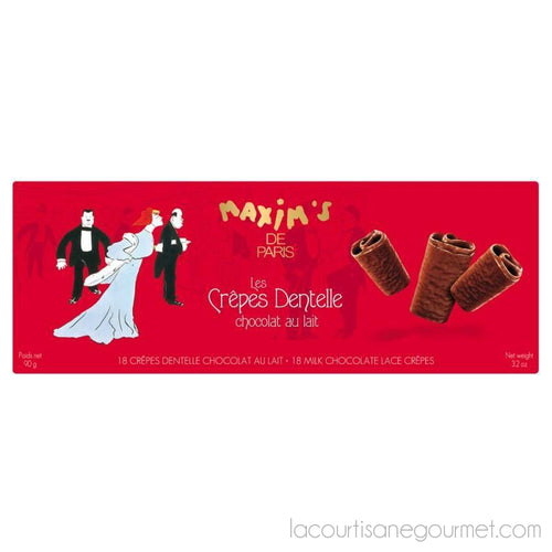 Maxim'S De Paris - Cardbox 18 Lace Crepes 3.17Oz (90G) - Chocolate - La Courtisane Gourmet Food