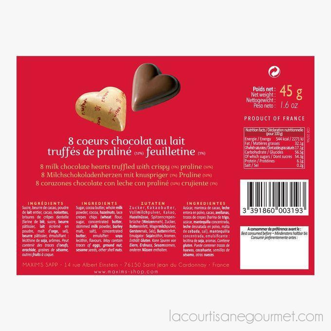 Maxim'S De Paris Cardbox 8 Chocolate Hearts 1.590Z (28G) - Chocolate - La Courtisane Gourmet Food