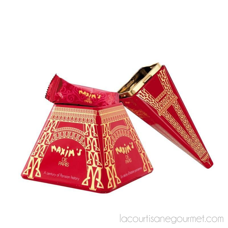 Maxim'S De Paris - Eiffel Tower Tin With Milk Chocolate Lace Crepes 2.47Oz (70 G) - Chocolate - La Courtisane Gourmet Food