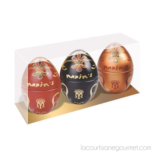 Maxim'S De Paris - Gift-Pack 3 Mini Egg-Tins - Chocolate - La Courtisane Gourmet Food