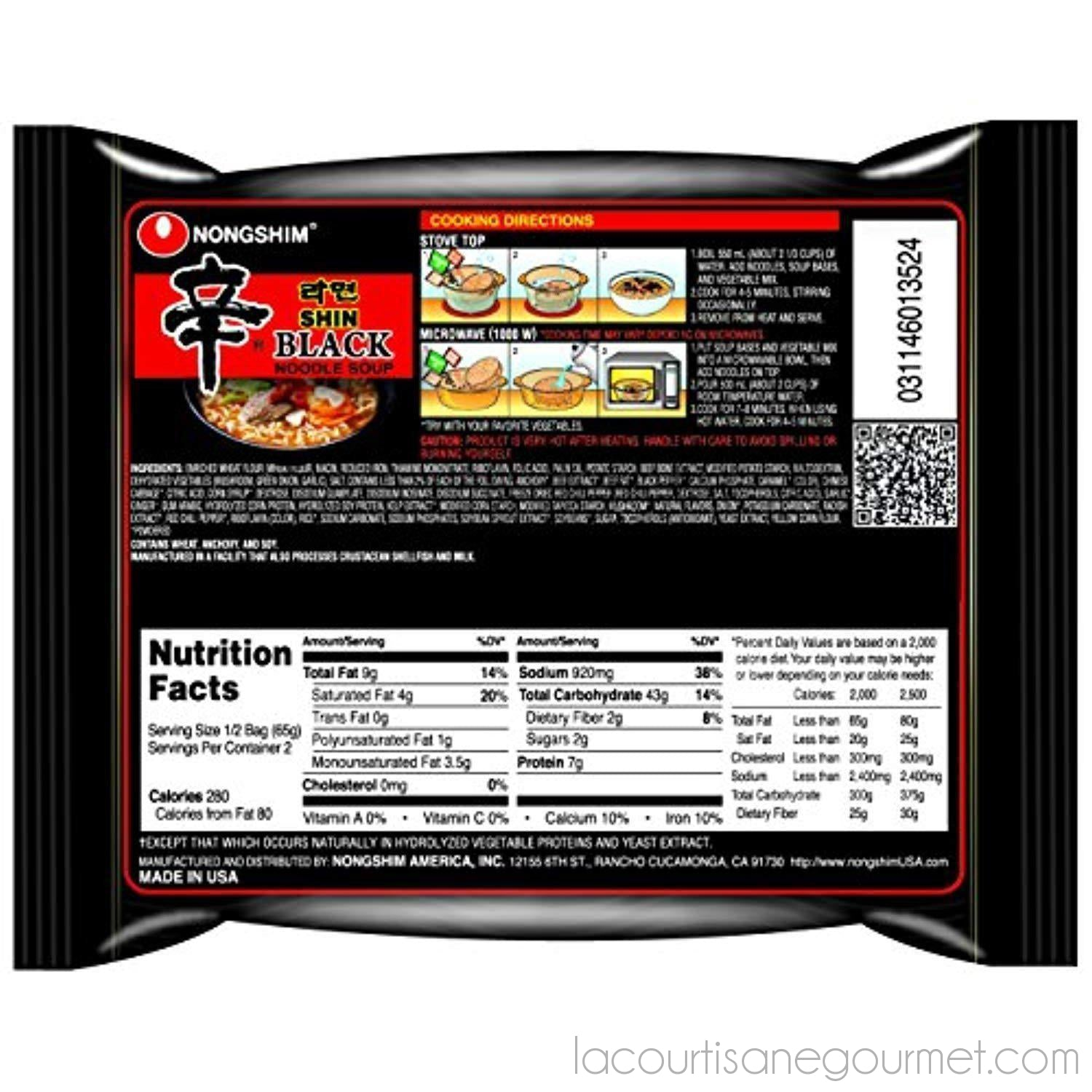 Nongshim Shin Black Noodle Soup, Spicy, 4.58 (Pack Of 10) - Noodle - La Courtisane Gourmet Food
