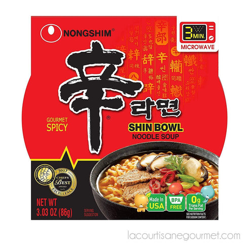 Nongshim Shin Bowl Noodle Soup, Gourmet Spicy, 3.03 Oz - Noodle - La Courtisane Gourmet Food