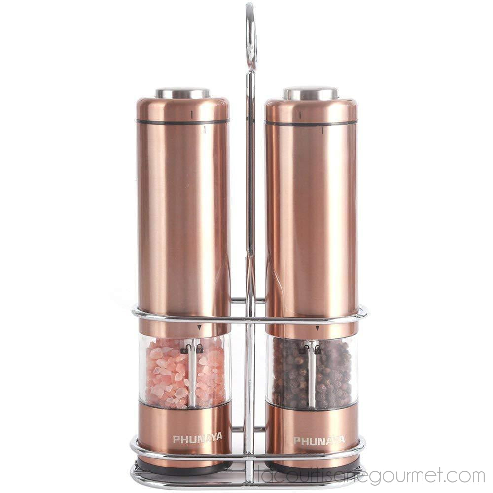 Phunaya Electric Salt And Pepper Grinder Set With Upgraded Motor | Complimentary 304 Stainless Steel Mill Stand | Led Light |Battery Operated | Adjustable Ceramic Coarseness |Set Of 2 - - La Courtisane Gourmet Food