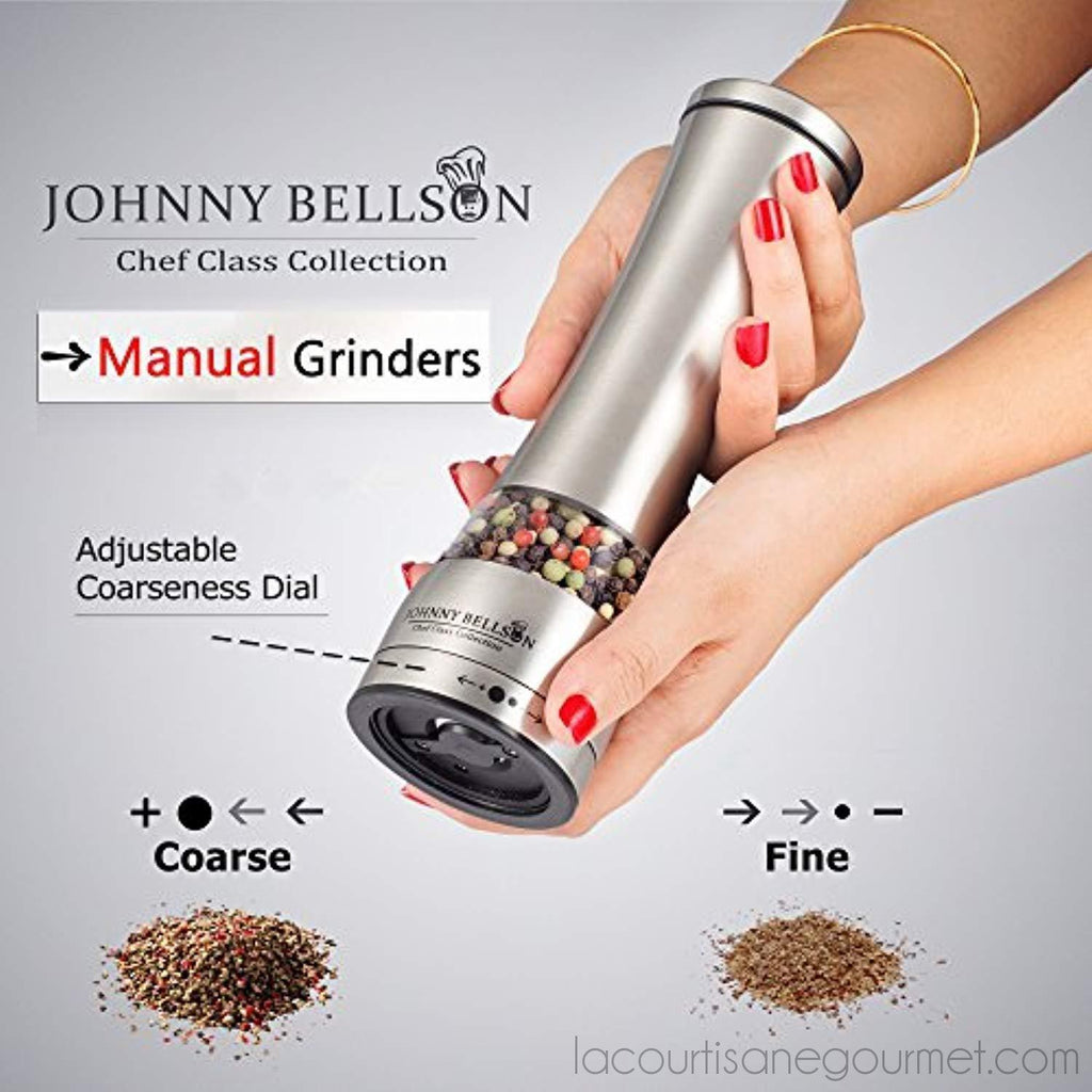 Premium Stainless Steel Salt And Pepper Grinder Set - Pepper Mill And Salt Mill, Spice Grinder With Adjustable Coarseness, Ceramic Rotor, Tall Salt And Pepper Shaker, Brushed Stainless - Free Ebook - - La Courtisane Gourmet Food