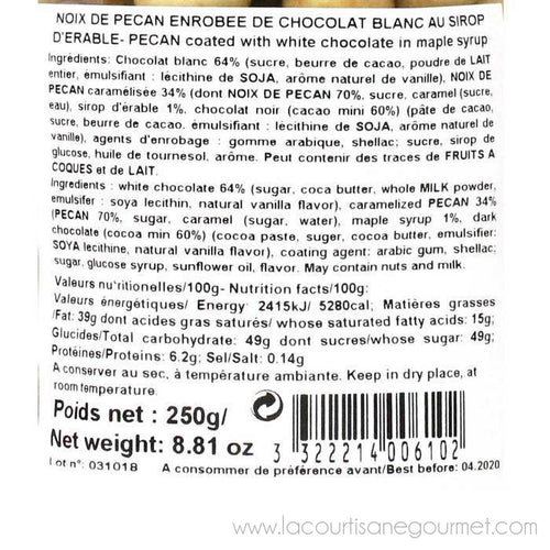Reynaud - White Chocolate Covered Pecan Nuts, 250g (8.8oz) - Chocolate - La Courtisane Gourmet Food