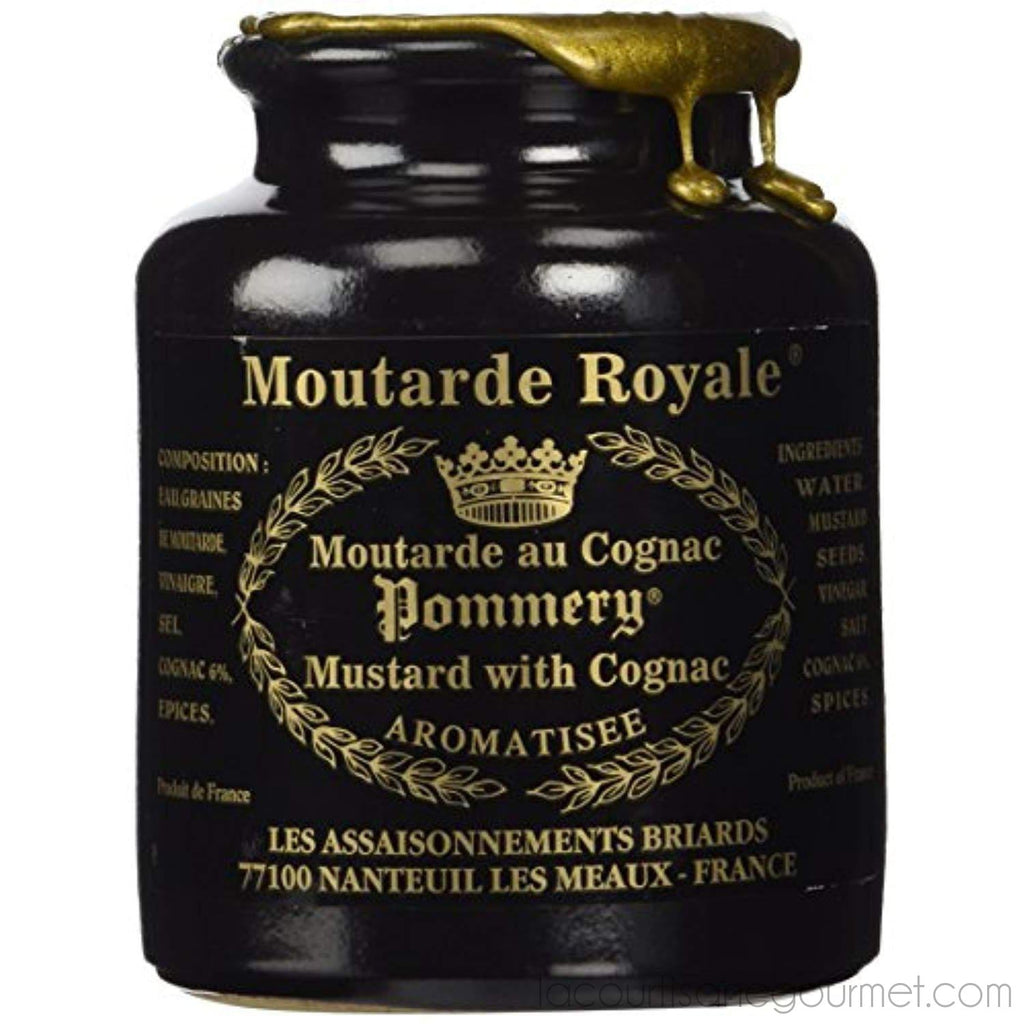 Royal Mustard Pommery Mustard With Cognac In Pottery Crock, 8.8 Oz - Mustard - La Courtisane Gourmet Food