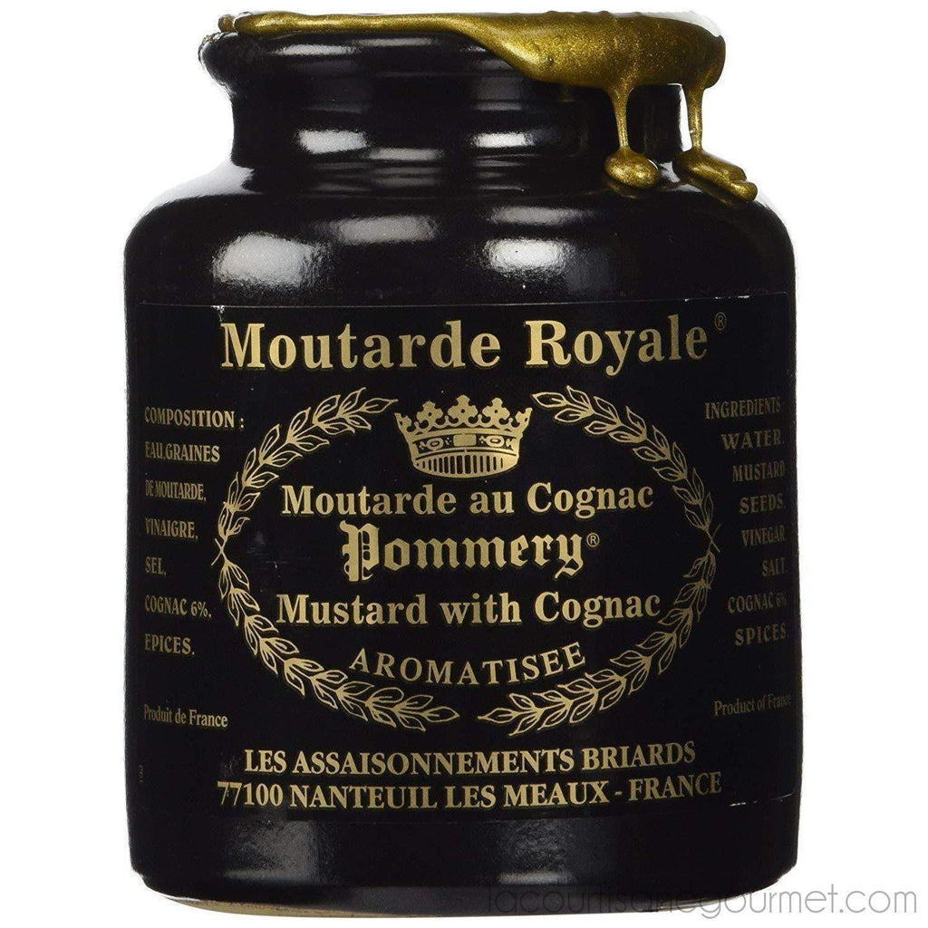 Royal Mustard Pommery Mustard With Cognac In Pottery Crock, 8.8 Oz - - La Courtisane Gourmet Food