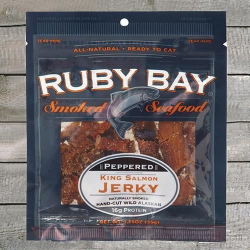 Ruby Bay Peppered King Salmon Jerky, 1.25 Oz - Smoked Salmon - La Courtisane Gourmet Food