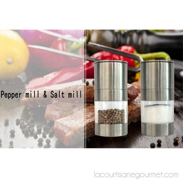 Stainless Steel Manual Salt Pepper Grinder Mill Seasoning Kitchen Tools Adjustable Rotating Pepper Grinder Kitchen Accessories - Kitchen Ustensil - La Courtisane Gourmet Food