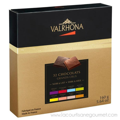 Valrhona - 32 Chocolate Squares, Dark & Milk Grand Cru, 160g Gift Box - Chocolate - La Courtisane Gourmet Food