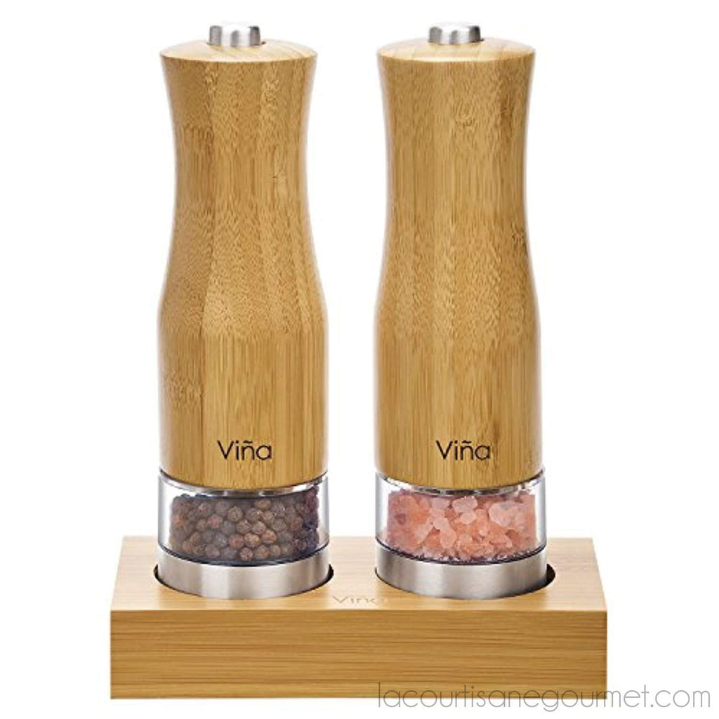 Vina Electric Salt And Pepper Grinder Set With Matching Stand, Battery Powered, Led Light And Adjustable Ceramic Bamboo Salt Pepper Mill, Pack Of 2 - - La Courtisane Gourmet Food