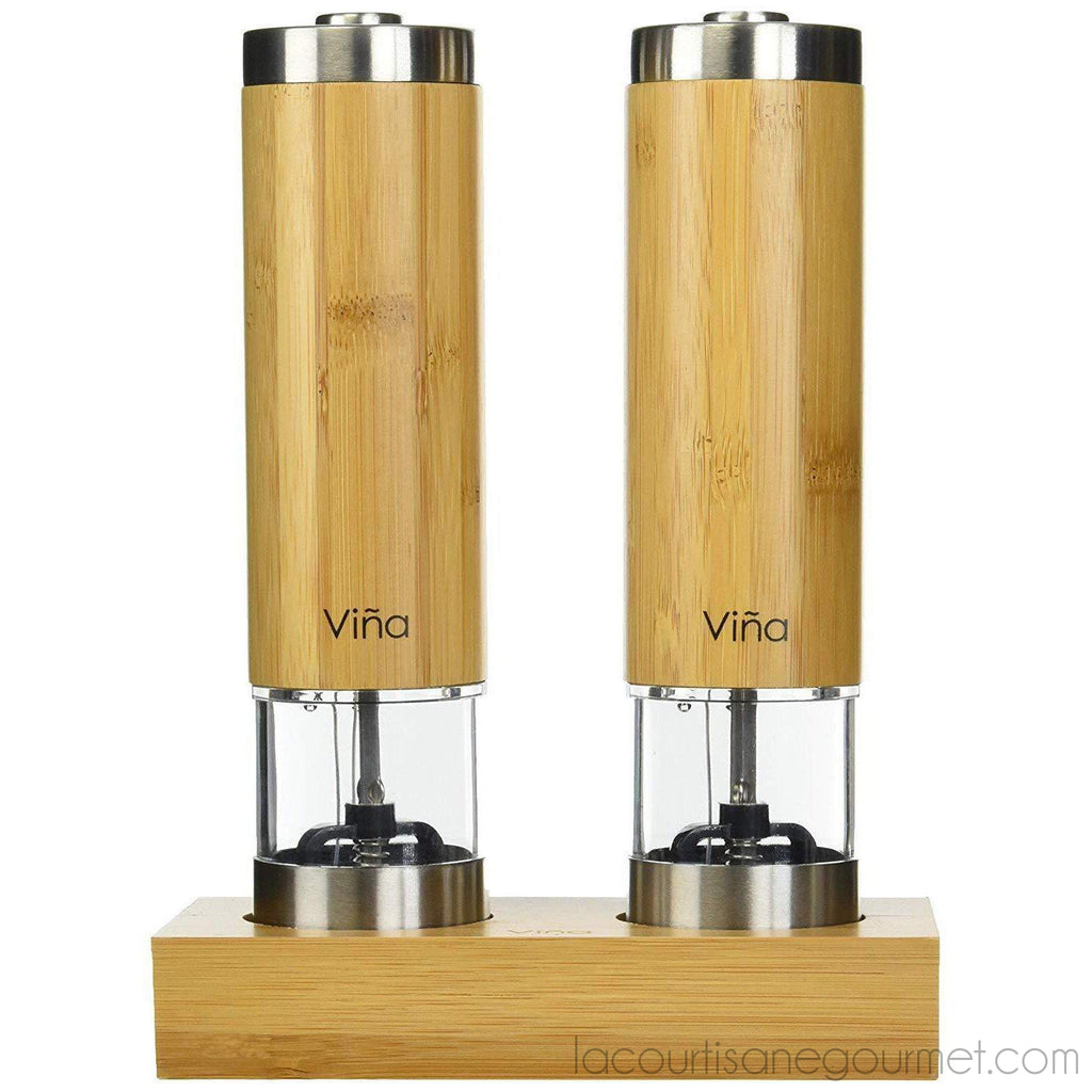 Vina Electric Salt And Pepper Grinder Set With Matching Stand