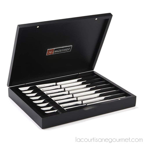 Wusthof Stainless Steel Eight Piece Steak Knife Set - Knives - La Courtisane Gourmet Food