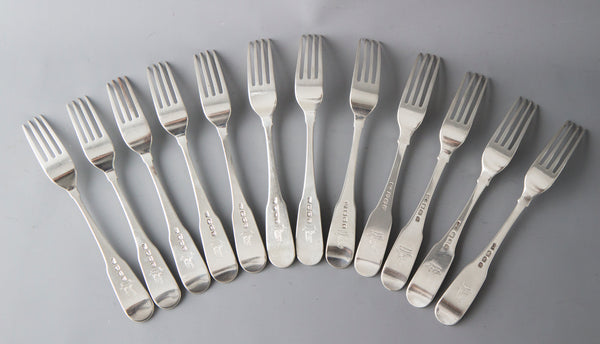 12 Superb Irish Silver Fiddle Pattern Table Forks, Dublin 1800
